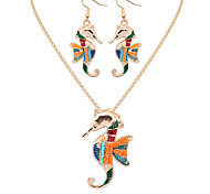 Women European Style Fashion Colorful Wings Dolphin Necklace Earring Set