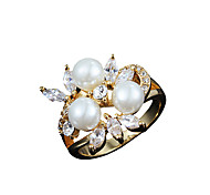 Two color choose New arrival vintage design 100% real gold ring with three pearl