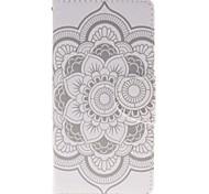 blanc titulaire de la carte de fleur porte-monnaie en cuir PU de téléphone pour huawei p9 / p9lite