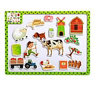 Children's Cartoon Puzzle Magnetic Wooden Tuba Puzzle Toys-The farm