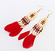 Earring Drop Earrings Jewelry Women Fashion / Bohemia Style Party / Daily / Casual 1 pair Coffee / Black / White / Red / Green