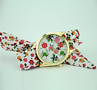Women's European Style Fashion New Floral Flowers Fabric Quartz Bracelet Watch
