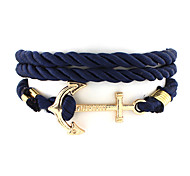 Men's Couple's Charm Bracelet Nylon Alloy Unique Design Fashion Jewelry Black Dark Blue Red Jewelry 1pc