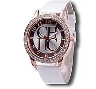 Women's Fashion Watch Casual Watch Simulated Diamond Watch Casual Watch Imitation Diamond Quartz Leather BandBlack White Pink