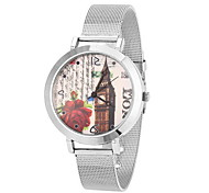 Women's Cool Steel Leather Band White House Case Analog Quartz Fashion Watch(-Not Water Resistant)
