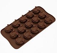 mignon de porc visage silicone moule 15 trous même chocolat bricolage gâteau biscuit mini-d-305 5pcs