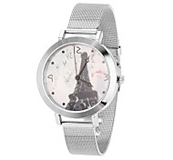 Women's Cool Steel Leather Band White Eiffel Tower Case Analog Quartz Fashion Watch(-Not Water Resistant)