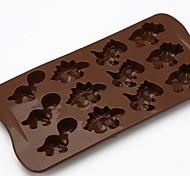 12 trous puce même moule en silicone chocolat silicone diy moule chocolat biscuits petit dinosaure d-317 5pcs