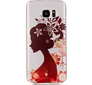 Hollow High Permeability Silhouette Girl Pattern TPU Soft Case Phone Case For Samsung S6/S7/S7edge