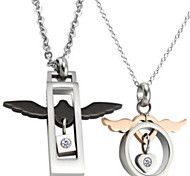 18 carat diamond necklace couple angel wings     18K金镶钻天使翅膀情侣项链