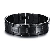 Men's Fashion Simple Titanium Steel Plated Black Bracelet