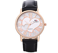Women's Fashion Round Leather Wristwatches Glass Analog Love Heart Casual Style Quartz Watch
