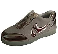Calçados Femininos-Tênis Social-Arrendondado-Rasteiro-Prateado / Dourado-Courino-Ar-Livre / Casual / Para Esporte