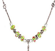 Light Green DIY Beads Strand Necklace with Flower Print Antique Silver Fine Jewelry