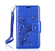 Butterfly Flower Diamond Flip Leather Cases Cover For Samsung J Series Prime Strap Wallet Phone Bags