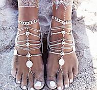 uma peça de moeda moda pingente cadeia pulseira de prata no tornozelo do pé do vintage sandálias cadeia tornozeleira para as mulheres