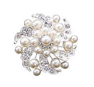 Cheap Fashion Pearl Rhinestone Flower Brooches for Women Weeding Brooch Pins