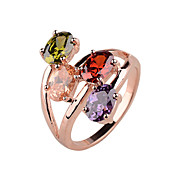Exaggerated fashion lady ring copper material inlaid zircon ring platinum rose gold color