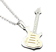 Guitar Lovers Necklace - White Gold Tycoon