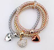 Charm Bracelets 1pc,Gold Bracelet Fashionable Diamond Love Bracelet Three Colors Jewelry Friendship Bracelet