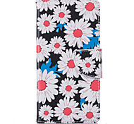 White Chrysanthemum Pattern Card Phone Holster for Huawei P9/P9 Lite/Honor 5X