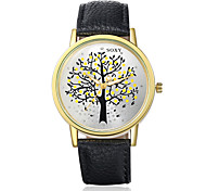Women's Fashion Round Leather Casual Wristwatches Glass Tree of Life Analog Quartz Watch