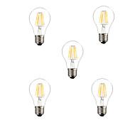 6W E26/E27 Bombillas de Filamento LED A60(A19) 6 COB 500lm lm Blanco Cálido / Blanco Fresco Regulable / Decorativa AC 100-240 / AC 110-130