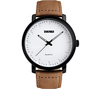 Skmei® Men's Fashion Round Dial Leather Strap Quartz Wrist Watch 30m Waterproof