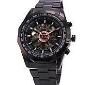 WINNER Herren Armbanduhr Mechanische Uhr Automatikaufzug Transparentes Ziffernblatt Edelstahl Band Luxuriös Schwarz Weiß Schwarz