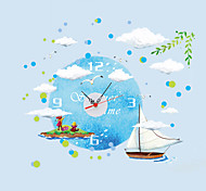 Creative DIY Nautical Boat Blue Sky Wall Stickers With Wall Clock For Bedroom Living Room Home Decor Removable