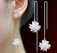 2016 Korean Women 925 Silver Sterling Silver Jewelry Long Crystal Flower Earrings Drop Earrings 1Pair
