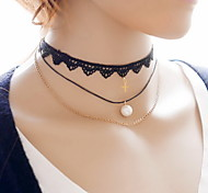 Sexy Cute Punk Black Lace Fabric Tatoo Choker Neckace Three Layered with Pearl /Cross Pendant