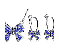 Women's Double-layer Diamond Bow Shape Necklace Earring Sets