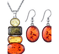 Orangle Natural Stone Gem Necklace Earrings Jewelry Set