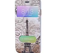Corpo Completo Auto Dormir/Despertar Torre Eiffel Couro Ecológico Duro Case Capa Para Apple iPhone 6s Plus/6 Plus / iPhone 6s/6