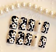 24PCS Fashion White Daisy Nail Tips