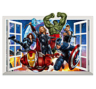 3D Avengers Superhero Iron Man Captain America 3D Wall Stickers Family Living Room False Window Design Wall Decals