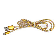 Golden Aluminum Alloy Usb Data Line for Samsung  Galaxy Note 4/S7/S6/S4/S3/S2 and HTC/Huawei/SONY/Millet(1M)