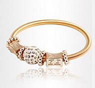 Golden Alloy Elastic Strand Bracelet