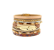 Fashion Women Multi Rows Stone Set Leaf Leather Bracelet