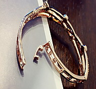 Simple Gold Silver Bangle Bracelet with Crystal