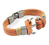 Men's Fashion Titanium Steel Anchor Leather Bracelet