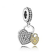 Double Silver Heart-Shaped Pendant Charm for Bracelet