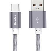 USB 2.0 Tressé Nylon / Aluminium Câbles 100cm