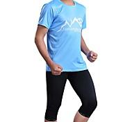 Sports Bike/Cycling Jersey + Shorts / Tops / Bottoms Men's Short Sleeve Breathable / Sweat-wicking Elastane Sport Sky BlueS / M / L / XL