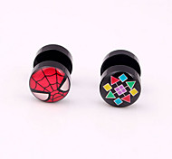 Acylic Oil Pattern Dumbbell Screw Back Stud Earrings