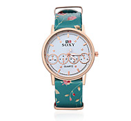 Women's Fashion Round Leather Casual Wristwatches Glass Flower Analog Quartz Watch