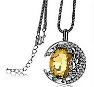 Exquisite Crystal Moon Pendant Necklace Jewelry for Lady