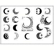 5PCS Fashion Moon Body Art Waterproof Temporary Tattoos Sexy Tattoo Stickers (Size: 3.74'' by 5.71'')