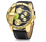 Men's Military Fashion Dual Time Zones Leather Band Quartz Watch